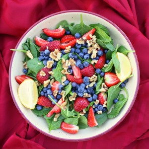 spinach, berries, lemon